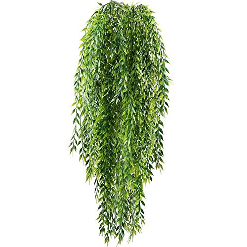 HUAESIN 2 Pcs Artificial Trailing Plants Face Trailing Ivy Plants Fake Silk Hanging Willow Leaves Ivy Vine Plastic Faux False Weeping Drooping Plants House Wedding Garden Wall In/Outdoor Decor