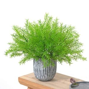 MZMing 6 Bundles Realistic Artificial Plant Bouquets Plastic Shrubs and Greenery Bushes Fake Fern Grass Floral Arrangement Filler for Indoor Outdoor Home Office Kitchen Garden Balcony Table Decoration