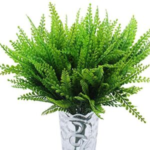 JaneYi 6 Pieces Artificial Boston Fern Plant Artificial Phoenix Grass Fake Plastic Greenery Shrub Floral Arrangement Filler Leaf for DIY Indoor Outside Home Office Cafe Kitchen Balcony Garden Decor