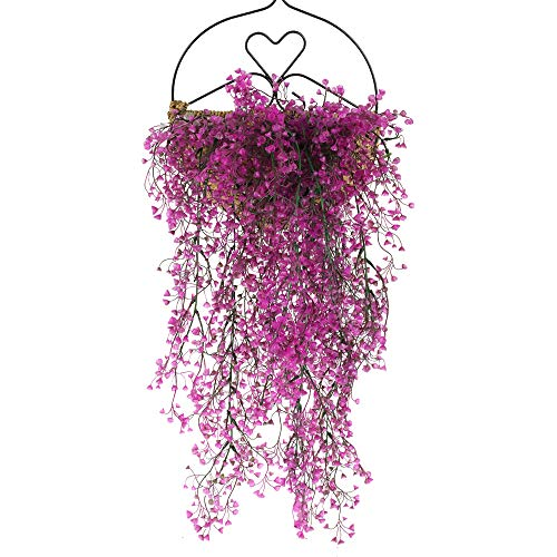 HUAESIN 3Pcs Artificial Trailing Plants Purple Fake Silk Hanging Plants Faux Hanging Ivy Vine Garland Plants for Home Bedroom Wedding Party Wall Balcony Outdoor Hanging Decor
