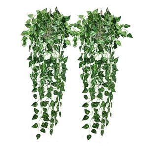 Heflashor 1/2/4 Pack Artificial Hanging Vines Plants Ivy Vine Greenery Leaves Drooping Plant for Wall Indoor Outside Garden Wedding Wall Decoration