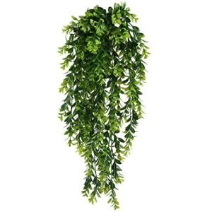 MIHOUNION 2pcs Artificial Trailing Plants Fake Hanging Plants Plastic Faux Foliage Greenery House Plant for Indoor Outside Home Bedroom Garden Wedding Hanging Pot Basket Decor