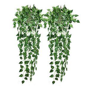NIBESSER 2 Packs Hanging Plants Fake Artificial Ivy Vines Green, Artificial Hanging Vines Spring Leaf Drooping Trailing Weeping Plants, Artificial Vines for Wall Bedroom Indoor Outside Garden Wedding