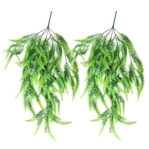 Bestomrogh Artificial Hanging Plants, 2 PCS Fake Plastic Greenery Boston Fern Plant Vine, Ivy Leaves Garland for Indoor Outside Home Office Cafe Wedding Wall Decor