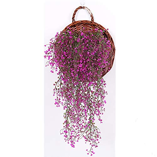 Warmiehomy Artificial Plants Wisteria Ivy Vine Hanging Fake Flower Vine Greenery Garland for Wedding Party Home Wall Balcony Outdoor Summer Decoration, Hot Pink
