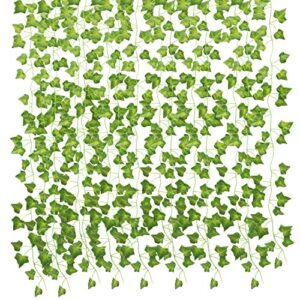 AUERVO Artificial Ivy, Fake Ivy Fake Plants Ivy Garland Artificial Fake Vine Green Leaves Fake Plants Hanging Vine Plant for Wedding, Party, Garden, Home Decoration (6 Pack)