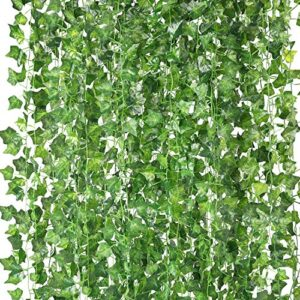 COCOBOO 18 Pack Fake Ivy Silk Artificial Vines Leaves Fake Plants Greenery Garlands for Home Kitchen Garden Office Party Wedding Wall Decoration, 126 Feet