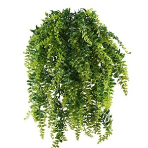 MIHOUNION 2pcs Fake Trailing Climbing Plants Artificial Hanging Ferns Plant Plastic Hanging Greenery kimberly Queen Boston Fern for Wall Indoor Outside Hanging Basket Decor