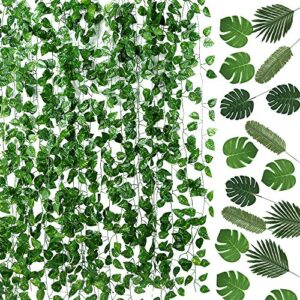 Auihiay 93 FT 12 Strands Artificial Ivy Garland and 24 Pieces Artificial Palm Leaves for Home Wall Garden Baby Shower Wedding Home Party Decor