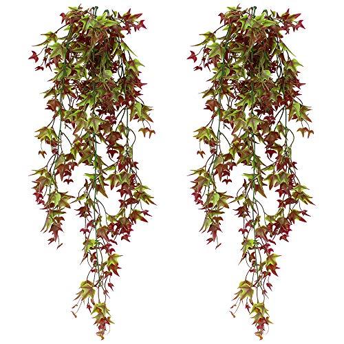 SPTwj 2 Pack Artificial Ivy Vine Artificial Plants Fake Ivy Hanging Home garden Office Outdoor Indoor Decor Red