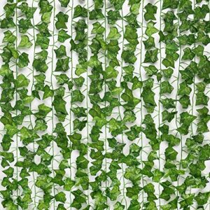 SOMONEY Ivy Artificial 15 Pack 105 Ft, Fake Plants Ivy Garland fake vine fake wall gardens Leaf for Wedding Party Garden Wall Decoration (Includes 50 cable ties)