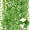 CQURE 24 Pack 168Ft Artificial Ivy Garland,Ivy Garland Fake vine UV Resistant Green Leaves Fake Plants Hanging Vine Plant for Wedding Party Garden Wall Decoration