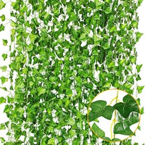 CQURE 12 Pack 84Ft Artificial Ivy Garland,Ivy Garland Fake Vine UV Resistant Green Leaves Fake Plants Hanging Vine Plant for Wedding Party Garden Wall Room Decoration