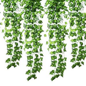 GoFriend Artificial Ivy Garland Foliage Green Leaves Fake Hanging Vine Plant for Wedding Party Garden Wall Decoration (6 Pack)
