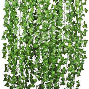 YQing 84 Ft-12 Pack Artificial Ivy Leaf Garland Plants Vine Hanging Wedding Garland English Ivy Home Kitchen Garden Office Wedding Wall Decor