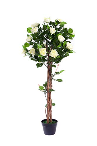 Best Artificial 4ft 120cm Rose Flower Tree garden conservatory office plant (White)