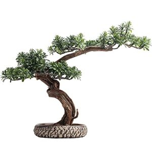 liangzishop Artificial Potted Plants 13 Inches Artificial Bonsai Tree Potted Plant,Simulation Bonsai Pine Green Plant,Fake Plants for Desk Home Office Display Artificial Tree