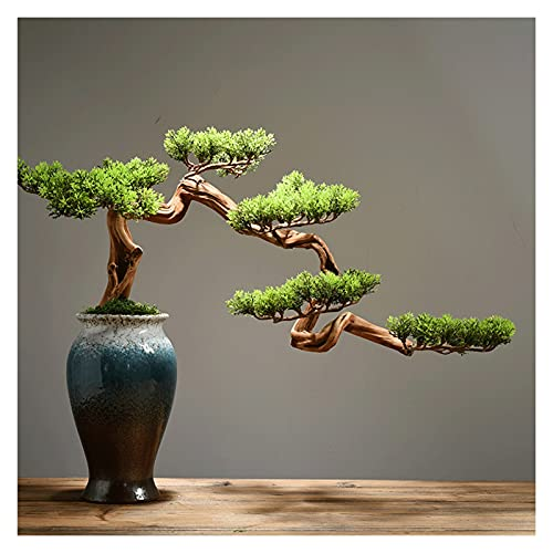 Artificial Potted Plants Artificial Bonsai Welcoming Pine Tree,15 Inches Simulation Potted Plant Decorative Bonsai, Office, Shop Decorative Gifts(with Cleaning Brush) Artificial Tree (Color : A)