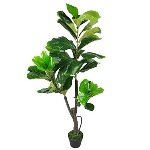 Leaf Design UK Artificial Fiddle Fig Tree Plant Black Plastic Pot, Green, 120cm