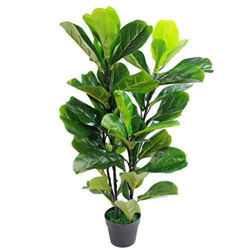 Leaf Design UK Artificial Fiddle Fig Tree Plant Black Plastic Pot, Green, 90cm