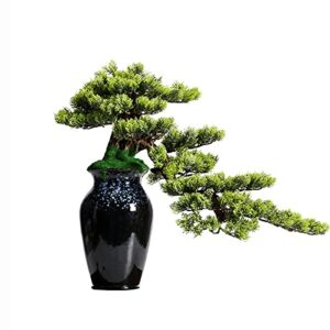 liangzishop Artificial Potted Plants 19 Inches Artificial Plants Bonsai Pine Tree,Silicone Simulation Green Plant Bonsai, Used in Corridors Front Desk Etc Artificial Tree