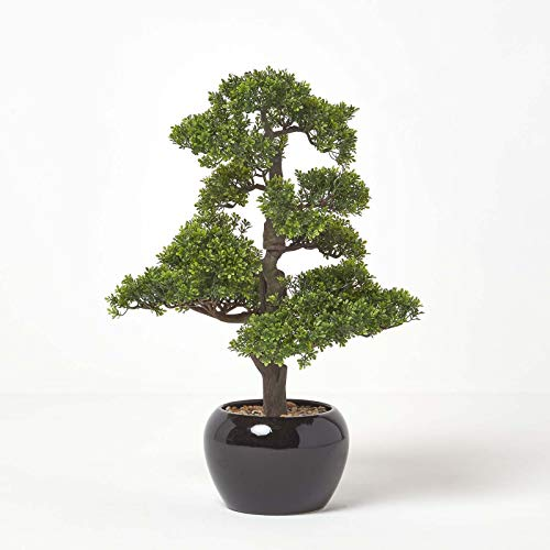 Homescapes Oriental Bonsai Tree Artificial Plant in Decorative Black Ceramic Glossy Pot 70 cm Faux Chinese Tree for Indoor Decoration
