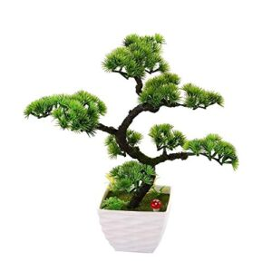 """QTQZ Mini Artificial Trees with Pot Guest-Greeting Pine Artificial Plants Simulation Potted Flowers Faux Green Grass Turf Bonsai Home Decoration Ornaments for Office Desk Table Decor, 13.39""""/34 cm, 7"""