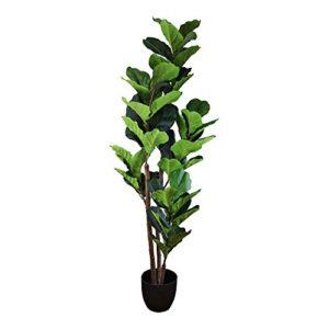 EliteKoopers 150cm Plastic Artificial Fiddle Leaf Fig Tree Fake Plants with Pot for Home Office Shop Decoration