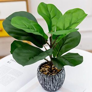 12 inch Real Touch Artificial Fiddle Leaf Fig Tree Potted Plants Indoor Office Desk Faux Potted Green Leaf Plant Realistic Small Farmhouse Plants for Home Kitchen Bathroom Bedroom Decor
