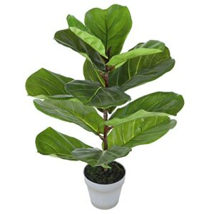 Artificial Tree Mini Fiddle Leaf Fig Tree 25 Inch Fake Ficus Lyrata Plant Faux Plants for Indoor House Home Office Decoration