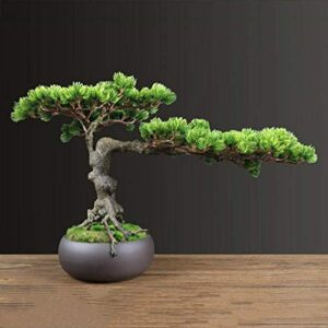 Artificial Bonsai Tree/Welcome Bonsai Simulation Welcoming Pine Artificial Tree Artificial Bonsai Green Plant Potted Plant Indoor New Chinese Style Living Room Coffee Table Decoration Ornaments Faux P