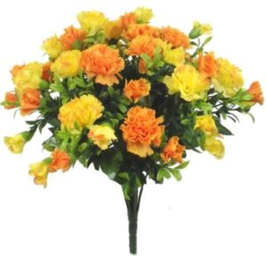 A1-Homes 35cm Artificial Silk Orange & Yellow Carnation Flower Bush - Home Wedding Grave