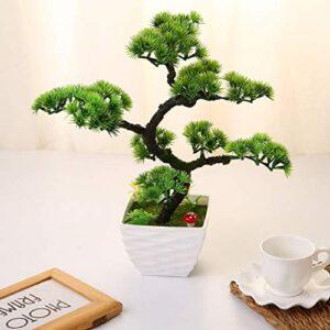 """QTQZ 2018 Mini Artificial Bonsai Tree Plant Pine Trees Flower Potted Vase Wedding Not Faded No Watering Artificial Plant Home Decoration, 13.39""""/34 cm, 30"""