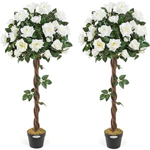 CHRISTOW 2 Artificial Rose Trees Cream Flowers Twisted Trunk Potted Indoor Outdoor 4ft (Pair)