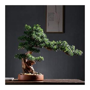 xinxinchaoshi Artificial Plants Artificial Rhododendron Tree Faux Bonsai Tree Faux Potted Houseplant Pebbles, Green, Home Decoration Gifts Indoor House Plant (Color : B)