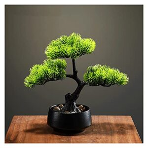 liangzishop Artificial Potted Plants Artificial Tree Simulation Welcome Pine Bonsai,8 Inch Fake Green Plant Bonsai for Living Room Hotel Entrance Home Decoration Artificial Tree