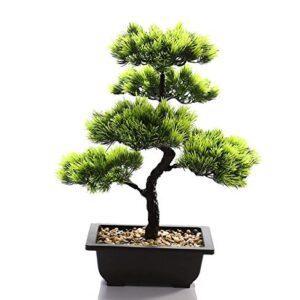 QTQZ Artificial Bonsai Tree Plant for Office Home Decoration, 40cm Deco Living Room Green,Black