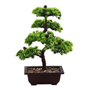QTQZ flower Mini Artificial Bonsai Tree Indoor, Mini Bonsai Tree Kit Will Not Faded Doesn't Need Watering Potted Perfect for Office, Home Or Shelf Decoration (Plastic Resin)-Green