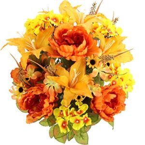 Admired By Nature Full Blooming Tiger Lily, Peony & Hydrangea with Green Foliage Mixed Artificial Flower bush, Orange