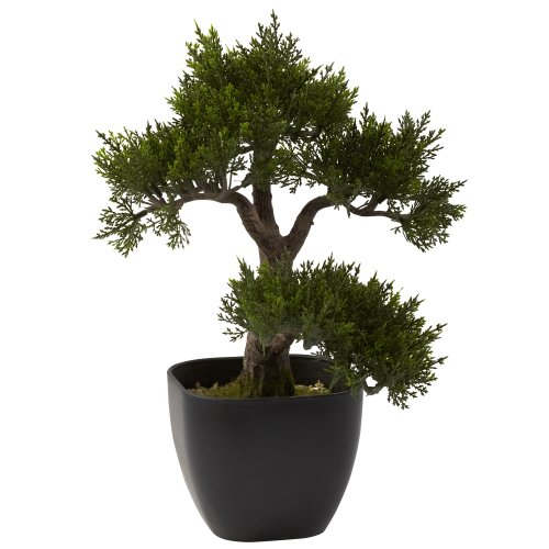 Nearly Natural 4966 Cedar Bonsai Artificial Tree, 15-Inch, Green