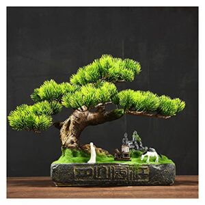 Artificial Potted Plants Artificial Bonsai Pine Tree Fake Plants Room Decor for Bedroom Aesthetic and Home Farmhouse Bathroom Decor, Height 11 Inch(with Cleaning Brush) Artificial Tree
