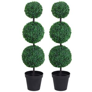 Outsunny Set of 2 Artificial Boxwood Ball Topiary Trees Potted Decorative Plant Outdoor and Indoor Décor (112cm)